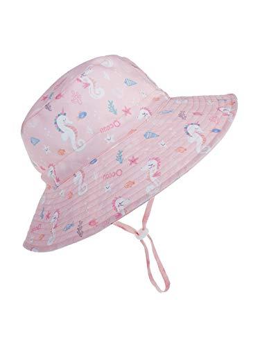 Century Star Baby Sun Hat UPF 50+ Sun Protection Toddler Hats Boys Girls Wide Brim Summer Beach Bucket Hat Pink Seahorse 50cm 12-24 Months