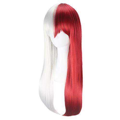 Peluca de cosplay resistente al calor, larga recta roja, plata, anime, Halloween, fiesta, peluca (color A: A)