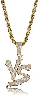 Individuality Letter V S Full Paved Cubic Zirconia Pendant Necklaces Shiny Rhinestone Ice Out Hip Hop Rapper Jewelry Gold Silver - (Metal Color: Gold)