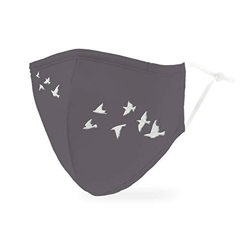 Weddingstar Maschera facciale in tessuto lavabile per adulti Copertura protettiva in tessuto riutilizzabile e regolabile con tasca per filtro antipolvere - Uccelli in volo
