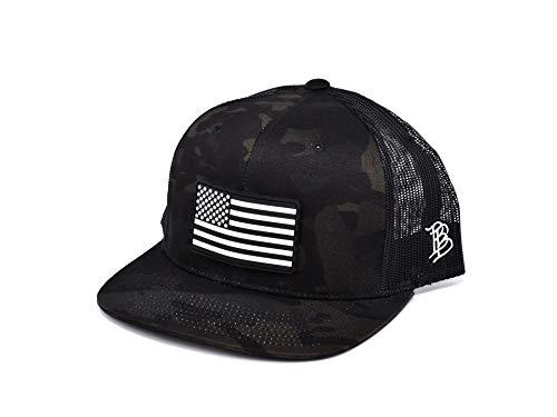 Branded Bills 'Vintage Rogue' PVC Patch Hat Flat Trucker - One Size Fits All (Multicam/Black)