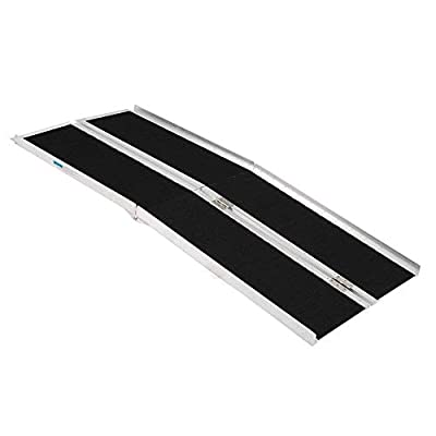 OMECAL 6FT Handicap Portable Aluminum Wheelchair Ramps, Multifold Loading Scooter Ramps, Non-Skid Lightweight Traction Folding Disabled Threshold Ramps for Home or Temporary, 600Lbs Loading Capacity