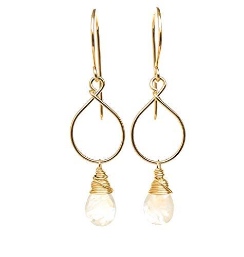 Rainbow Moonstone Earrings 14kt Gold-Filled June Birthstone