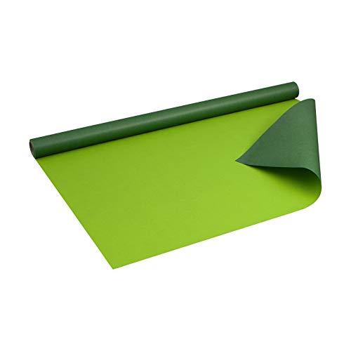 Geschenkpapier GRÜN und LIMETTE, zweiseitig bedruckt Kraftpapier, gerippt, 60 g/m², Geburtstagspapier, Weihnachtspapier - 1 Rolle 0,7 x 10 m