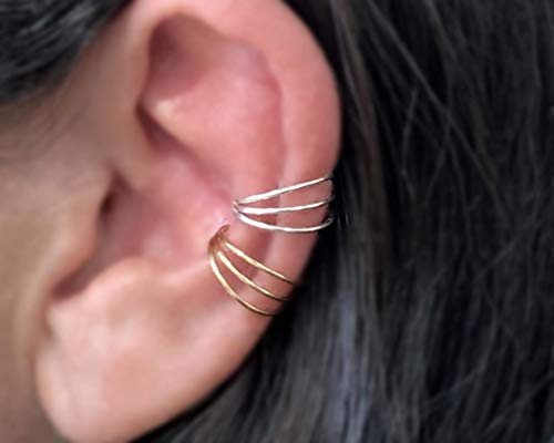 Set of 2 Tiny Triple Thin Band Sterling Silver and Gold Plated Ear Cuff Handmade, Cartilage Earrings, Non Pierced Ear Wrap