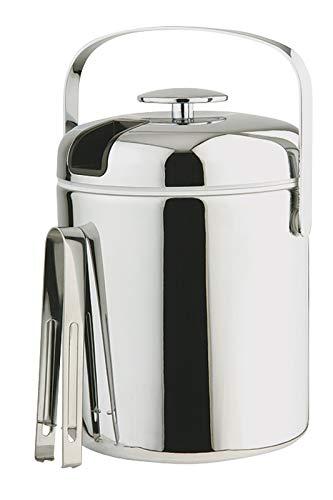 Buddy´s Bar - Profi Eiseimer 1,3 Liter aus Edelstahl mit Deckel, EIS-Zange und Abtropfgitter - Eisbehälter, Eiskübel, Eiswürfel-Eimer, Behälter für Eiswürfel Aufbewahrung