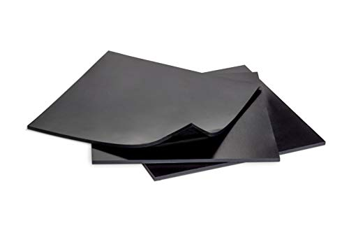 Silicone Rubber Sheet 6x6-inch by 1/8 Black [3-pack] Duro Shore A65/ High Temperature Heavy Duty for Gaskets DIY Material Supports Leveling Sealing Bumpers Protection Abrasion Covers