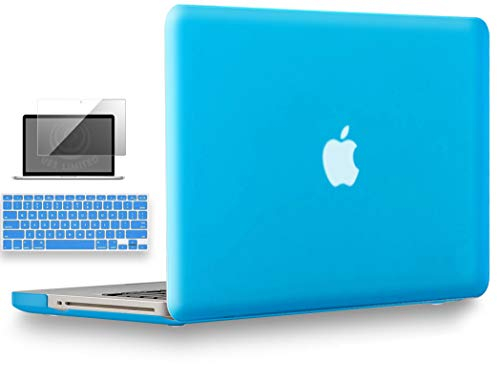 UESWILL 3 in 1 Smooth Soft Touch Matte Hard Shell Case Cover for MacBook Pro 13' with CD ROM (Non-Retina) (Model: A1278) + Keyboard Cover and Screen Protector, Aqua Blue