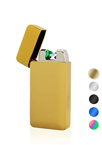 TESLA Lighter T10 Lichtbogen-Feuerzeug mit Photosensor, elektronisches USB Feuerzeug, Double-Arc Lighter, wiederaufladbar, Gold