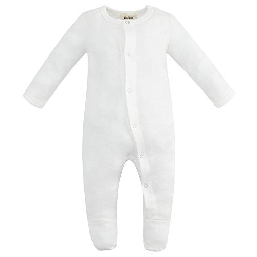 Owlivia Unisex-Baby Organic Button Cotton Sleep N Play Pajamas, Long Sleeve Footed Overall, Boys Girls' Sleeper (12-18 Months, Off-White)