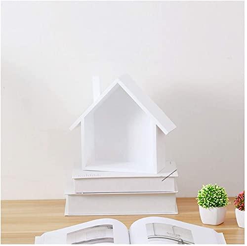 HJW Praktische opbergrek massief hout drijvende plank huisvorm, woondecoratie displayrek voor muur aanrecht plantenpothouder 1Huiyang-01020, wit