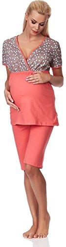 Be Mammy Damen Umstands Pyjama mit Stillfunktion M3R2LL1 (Coral, S)