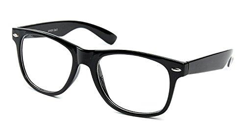 retroUV® Hornbrille ohne Stäke für Frauen und Männer Nerdbrille Retro Brille