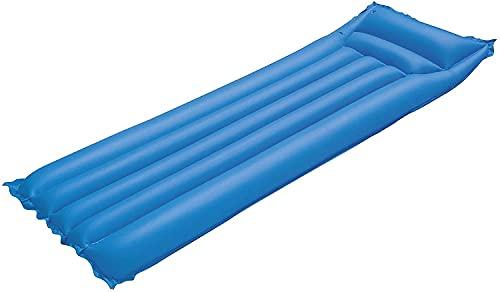 Colchoneta Hinchable 183 x 69 cm, colchoneta Inflable Verano, Hamaca Flotante, colchón, Tumbona Inflable, Flotador con reposacabezas para Playa y Piscinas (Azul)