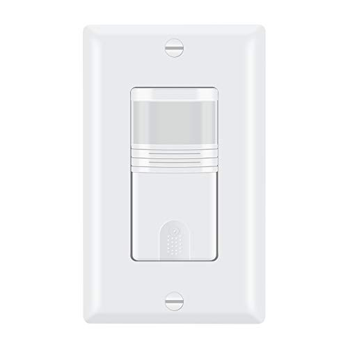 ECOELER Motion Detector in Wall Sensor Light Switch, Occupancy & Vacancy Model Motion Activated Wall Switch, Neutral Wire Required, Single Pole for Indoor, Wall Plate Included, UL Listed