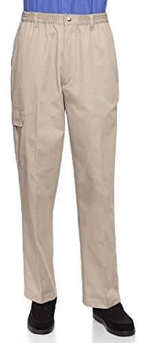 Mens Full Elastic Waist Pants with Zipper Fly and Snaps Closure (M, Khaki)