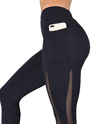 LOSRLY - Leggings de cintura alta para mujer con estampado a todo color, no se transparentan a través de pantalones con bolsillos Negro Negro ( XL
