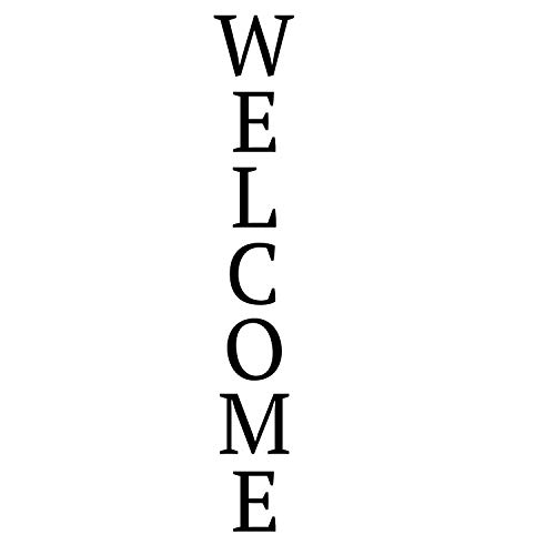 Welcome Lettering Vinyl Porch Decor Decal for Wall, Sign, Entryway   Black, White, Red, Blue, Other Colors   Available in Small, Large Sizes