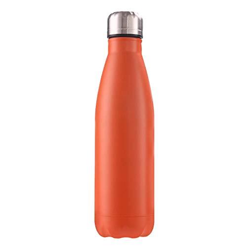 B/H Frasco de vacío de Acero Inoxidable de Color Creativo, Botella Deportiva portátil de Gran Capacidad a Prueba de Fugas para Exteriores-Orange_500ml