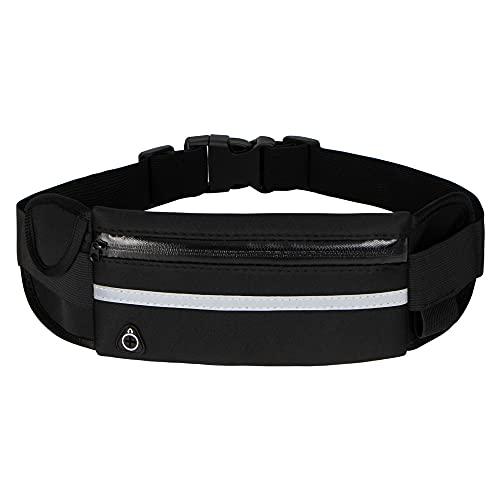 Running Belt Waist Packs,Workout Fanny Pack,Ultra Light Bounce Free Waist Pouch Fitness Workout Belt Sport Waist Pack for Women Men,Adjustable Waistband Bag for All Kinds of Phone (Black)