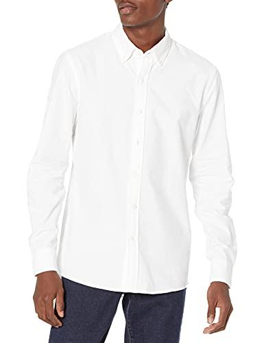 Goodthreads Slim-Fit Long-Sleeve Solid Oxford Shirt Camicia, Bianco (White), Medium