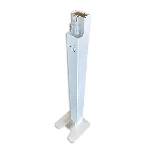 Dispensador de Pie con Pedal en Blanco para Gel Hidroalcoholico y Solucion Hidroalcoholica | Sin necesidad de corriente | Sin contacto | Acero