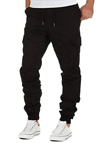 Minetom Pantalon Cargo Slim Homme Casual Été Pantalons Jogging Multi Poche Cordon De Serrage Baggy Style Pants Noir Medium
