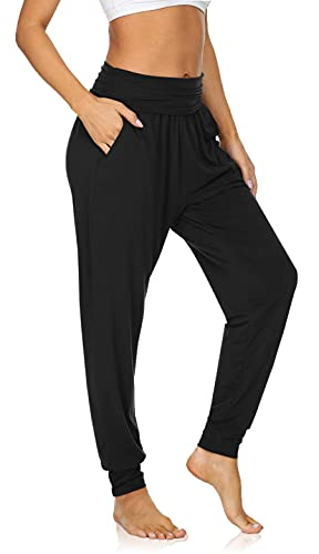 UEU Women s Cozy Yoga Thin Joggers Pants High Waist Loose Fitting Workout Sweatpants Baggy Comfy Sleep Lounge Sweat Pants with Pockets(Black,M)
