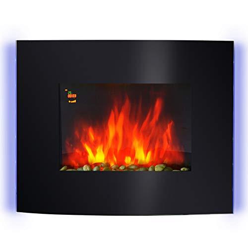 Homcom Cheminée électrique Murale éclairages latéraux LED Design Avant-gardiste Affichage LED avec télécommande et minuterie 900/1800 W luminosité réglable Noir
