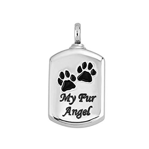 UEETEK My Fur Angel Pet Paw Prints Urn Necklace Pendant Memorial Ashes Keepsake Cremation for Pets Dogs Cats(Silver)