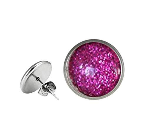 Pendientes de purpurina, con tachuelas de purpurina, color fucsia, joyería de cristal cúpula, hecho a mano