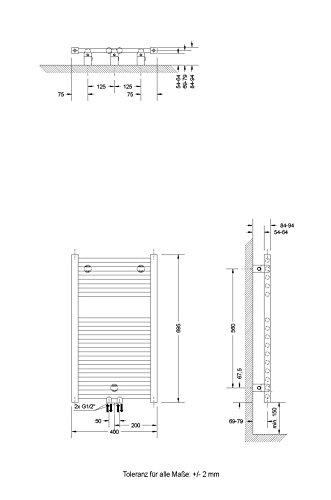 Badheizkörper Mittelanschluss Toskana 70×40 cm Design-Heizkörper Bad weiß vom Renovierungsprofi, 1 Stück, 4056397001737 - 4