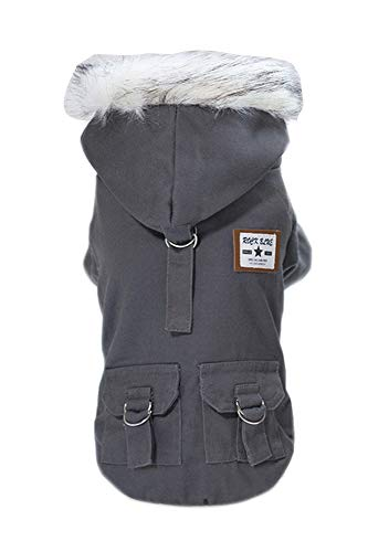 Trudz Pet Dog Hoodies, Work Clothes, Thickened Dog Overall, Dog Military Uniform, Army Hoodie Sweater, Cotton Jacket Fur Coat for Small Dog & Medium Dog & Cat (Grey,L)