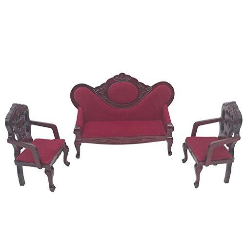 WFZ17 Juego de 3 sofás de madera para casa de muñecas de 1/12, modelo de miniaturas, accesorio multiusos.
