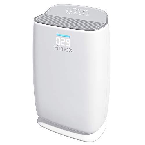 HIMOX Luftreiniger Allergie mit H13 Medical Gerade Filter, Aktivkohlefilter, Smart Luftqualität Sensor, Ionisator Luftreiniger für Raucher, Allergiker, bis zu 57 ㎡, gegen Staub, Allergien, Pollen