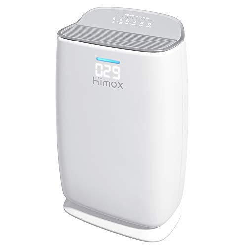 HIMOX Purificador Aire Hepa, Smart Purificador de Aire con Filtro Hepa de Grado Médico, 57m²/h, Indicador de Calidad de Aire, Modo Sueño, Generador ozono, Captura Alergias, Humo, Olor, Mascota H04