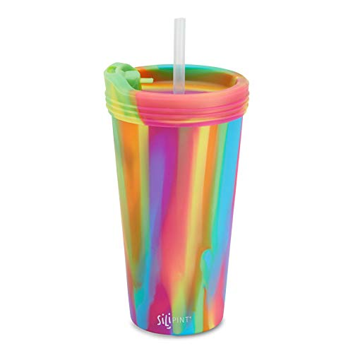 Silipint Silicone 22 Ounce Tumbler Cup with Lid and Straw. Unbreakable, Reusable and Versatile for Travel, Hiking, Camping, Sports and Outdoors. (Single, Hippy Hop)