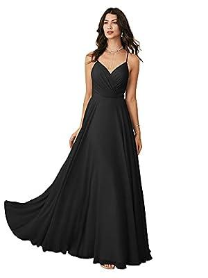 ALICEPUB Spaghetti Strap Chiffon Black Bridesmaid Dresses Long A-Line Formal Dresses for Women Special Occasion V-Neck,US16