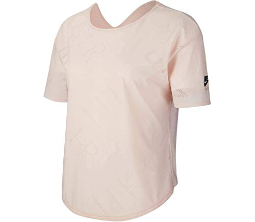 Nike W NK SS Top Air - Camiseta deportiva, Mujer, BV3356-682, rosa y negro., large