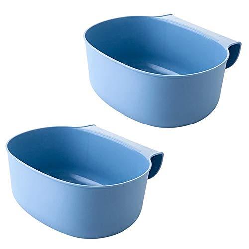 2x Auffangschale für Küchenabfälle zum Einhängen Mülleimer Abfall Behälter für Bio Müll Abfalleimer Küchenschrank Cabinet Tailgate Ständer Taschen Trash Regallager Müllbeutelhalter hängend (Blau)