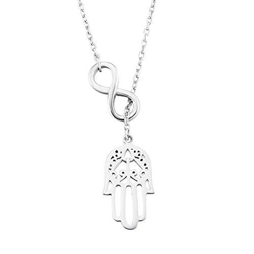 Damen Ketten Anhänger 925 Sterling silber Unendlichkeit Viel Glück Hamsa Fatima Hand Halskette, 43cm