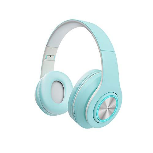DJXLMN Auriculares Inalámbricos Bluetooth Auriculares Estéreo Suaves Orejeras Micrófono Incorporado Modo Cableado Pc/Teléfono Móvil/TV Colores Brillantes,Azul