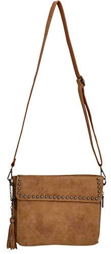 3D Angel Ranch Tan Distressed Faux Leather Crossbody Adjustable Strap Bag Purse