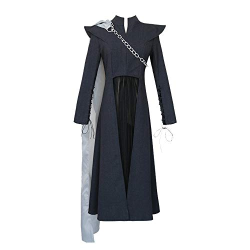 Queen Daenerys Targaryen Disfraz de Cosplay Traje de Mujer para Juego de Tronos Cosplay con Capa Vestido de Manga Larga Negro Disfraz de Fiesta Cosplay