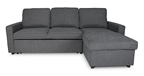 Divano letto angolare con contenitore, divano con chaise longue grigio scuro mod. Kennedy