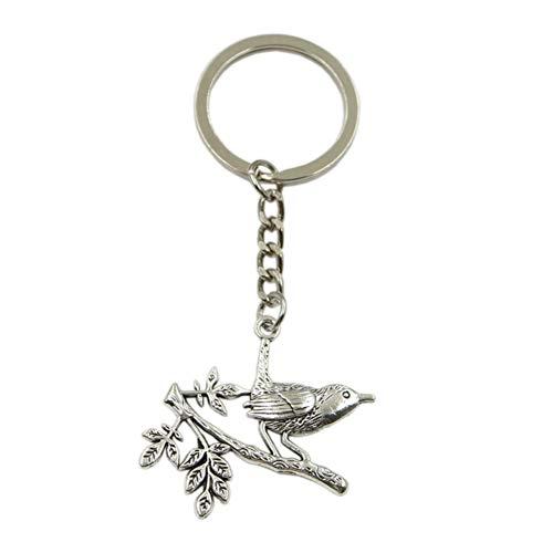 N/A SGDONG heren sleutelhanger van metaal sleutelhanger cadeau sieraad zilver kleur vogel kant tak hanger groot