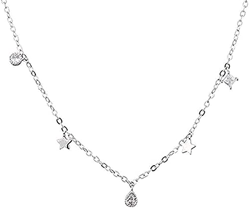 LBBYLFFF Collar de Moda Starry Collier Micro-Set Collar Temperamento Simple Collar de Gota Salvaje Regalos de pompón