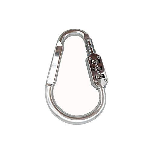 コンビネーションロック1個、リセット可能なDリングコンビネーションロック、旅行用南京錠バックパックと荷物用ロック、アウトドアキャンプ、ハイキング、登山用のカラビナ(シルバー)
