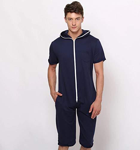 AHECZZ Pijama de una Pieza,Ropa de Dormir para Hombre Monos para Adultos Pijamas de una Pieza Pijamas con Capucha Homewear XL style1