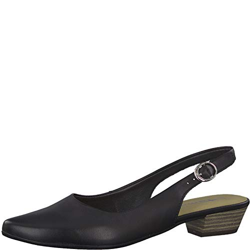 Tamaris 1-1-29400-22 Damen Slingpumps,Slingback Pumps,Knöchelriemchen,Leder,bequem,Komfort,Black Leather,38 EU